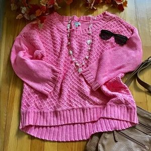 American Eagle pink bulky knit sweater size XL
